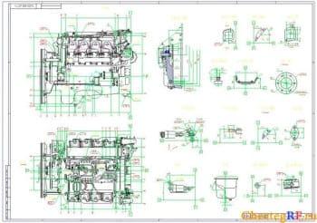 Габаритный чертеж двигателя 740.50-360 с оборудованием (формат А1)