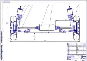 1.Схема передней подвески легкового автомобиля Лада-2171 Приора (формат А1)