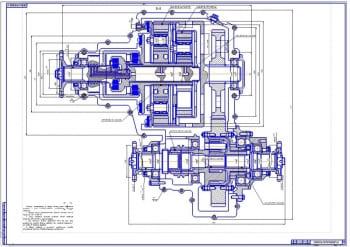 Чертеж раздаточной коробки с деталями автомобиля Урал-4320