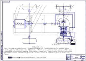 Чертеж схемы трансмиссии автомобиля ГАЗ-33106 Валдай