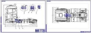 1.Общий вид грузового автомобиля Scania R440 с детальной прорисовкой коробки передач с ретардером (формат 2хА1)