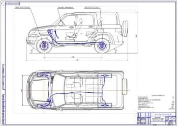 Чертежи модернизации тормозной системы автомобиля УАЗ-3163 Патриот