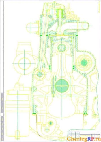 Чертеж двигателя 1 Ч 12/12, поперечный разрез (формат А1 )
