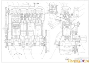 Сборочный чертеж бензинового двигателя марки FORD  (формат А1 )
