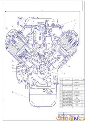 Чертеж двигателя V10 дизельного, поперечный разрез с указанием позиций и со спецификацией (формат А1 )