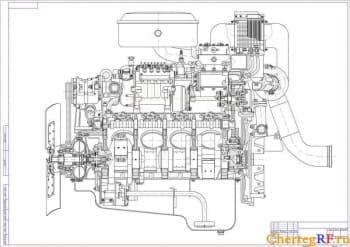 Чертеж продольного разреза ДВС Камаз-740 (формат А1 )
