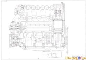 Чертеж продольного разреза бензинового двигателя мощностью 230 кВт при 4200 об/мин (формат А0 )