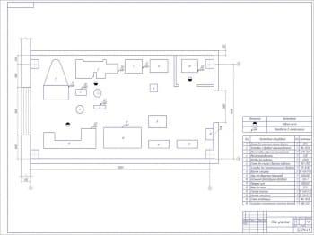 Чертеж план участка восстановления деталей напылением