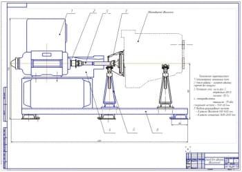 1.Общий вид стенда для холодной и горячей без нагрузки обкатки и испытания двигателей (ДВС) (формат А1)