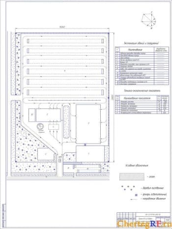 Чертеж проекта АТП на 500 автомобилей средней грузоподъемности с технико – экономическими показателями: площадь участка – 3,86 га