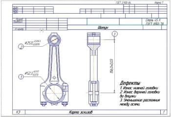 Набор операционных карт ремонта шатуна