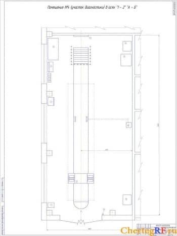 Чертеж участка диагностики представляет собой план участка диагностики помещение №4