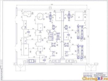 Чертеж агрегатного участка АРП для ремонта полнокомплектных автомобилей ЗиЛ-130, КамАЗ – 4310