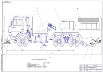 Конструкция щеточного оборудования и конвейера подметально-уборочной машины на базе шасси КамАЗ-53229