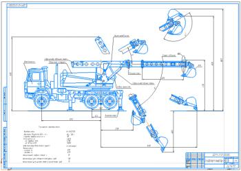 Проект экскаватора-планировка на базе шасси грузового автомобиля МАЗ-630303 с производительностью 55 куб.м./час