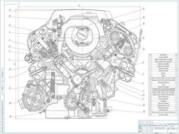 Двигатель автомобиля AUDI A8 в собранном виде в поперечном разрезе