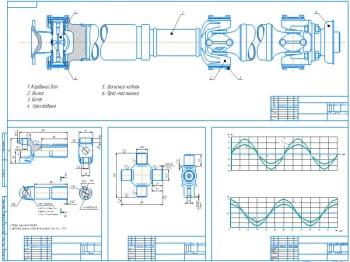 Чертеж кардана в сборе с деталировками и результирующими графиками