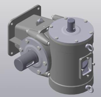 3D модель одноступенчатого червячного редуктора с деталями