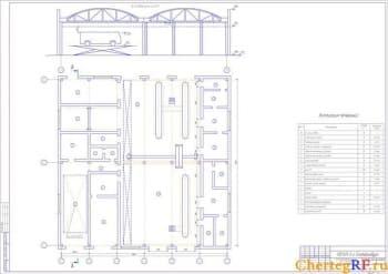 Архитектурно-строительный чертеж производственного корпуса со спецификацией помещений, их площадями и категориями/классами по электробезопасности