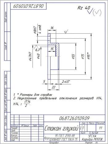 12.Деталь - стакан глухой из круга 95 ГОСТ 2590-88  (формат А4)