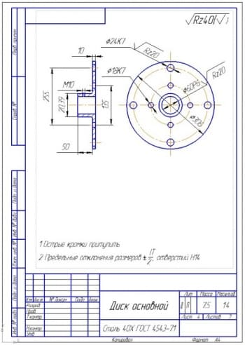 12.Основной диск – деталировка измельчителя (формат А4)