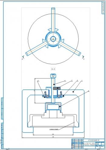 1.Сборочный чертеж съемника тормозного барабана для легковых автомобилей А1 с габаритными замерами