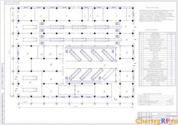 Чертеж проекта производственного корпуса на 210 автомобилей ГАЗ-3307 (формат А1)