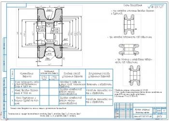 Ремонтный чертёж опорного катка крана РДК-250 с картой дефектации
