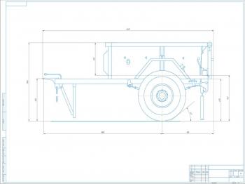 Чертеж одноосного цельнометаллического прицепа УАЗ-8109