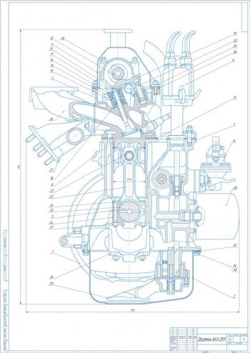 Сборочный чертёж двигателя легкового автомобиля ВАЗ-21011