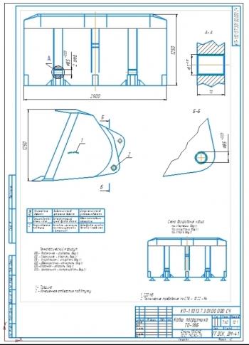 1.Ремонтный чертеж ковша фронтального одноковшового погрузчика ТО-18Б с технологическим маршрутом восстановления на формате А2