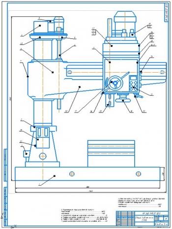 Конструкция радиально-сверлильного станка модели 2М55 и чертеж спирального сверла