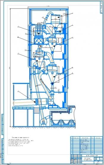 Циклонный теплообменник производительностью 1700 т/сут для сырьевой муки