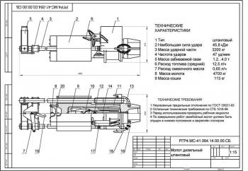 Разработка дизельного молота штангового типа