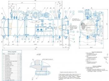 Горизонтальный кожухотрубный испаритель ИТГ-800 промышленной аммиачной холодильной установки