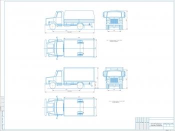Чертеж общего вида грузового автомобиля ГАЗ-3307 с бортовой платформой и фургоном