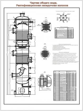 Рабочий чертеж ректификационной насадочной колонны