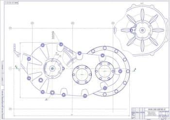 Чертеж сборки задней главной передачи с дифференциалом и фланцами полуосей лист 1(вид сбоку) (формат А1 )