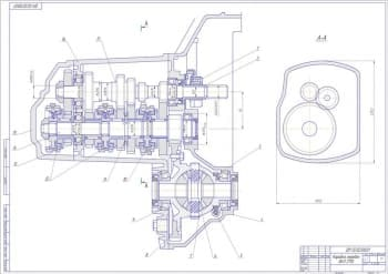Сборочный чертеж продольного разреза коробки передач ВАЗ 2110