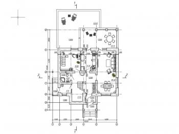 1.Чертеж плана первого этажа жилого дома