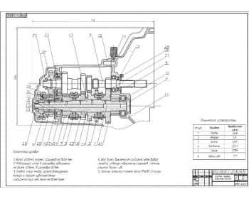 Сборочный чертеж коробки передач автомобиля ИЖ-2126