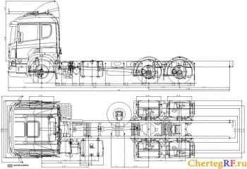 Чертеж грузового автомобиля КамАЗ