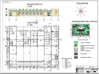 Проект одноэтажного продуктового магазина и кафе на 40 мест