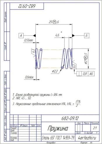 Детальный чертеж пружины21 с техническими требованиями