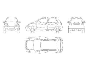 13.Чертеж общего вида автомобиля легкового Daewoo Matiz в различных проекциях – виды спереди, сбоку, сзади и сверху (формат А1)