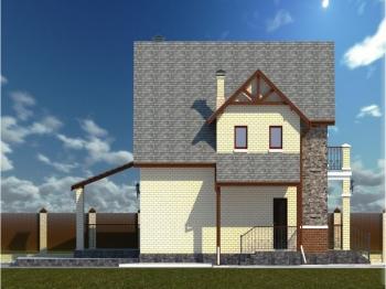 13.3-D модель правого бокового фасада дома