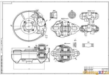 Чертеж переднего тормоза ВАЗ- 2108