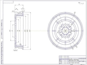Чертеж детали барабана тормозного автомобиля ВАЗ-2108