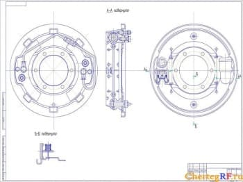 Представлен чертеж механизма тормоза автомобильного (формат А1)