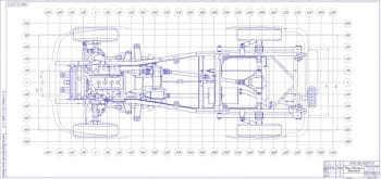 Сборочный чертеж общего вида шасси автомобиля (вид сверху) лист 2 (формат А2*3 )